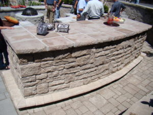 Bar firepit wall