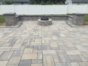 fire pit and decorative wall