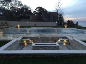 fire pit and pool surround
